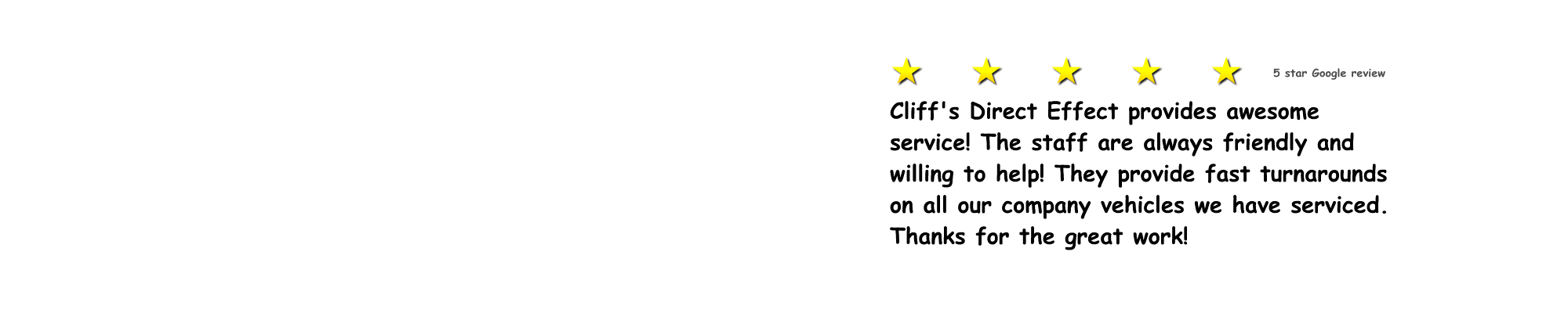 Cliff's Direct Effect - 5-star Google review